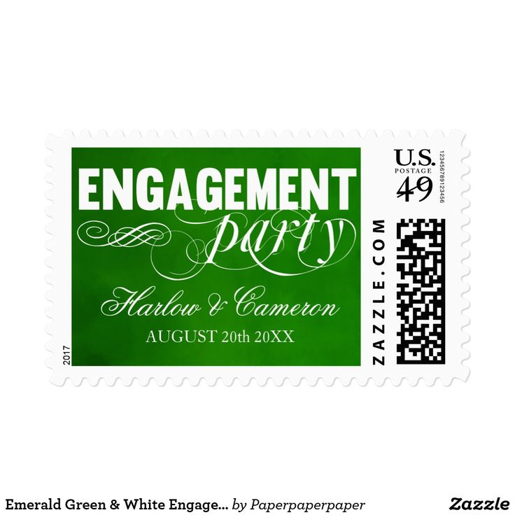 Emerald Green & White Engagement Party Postage