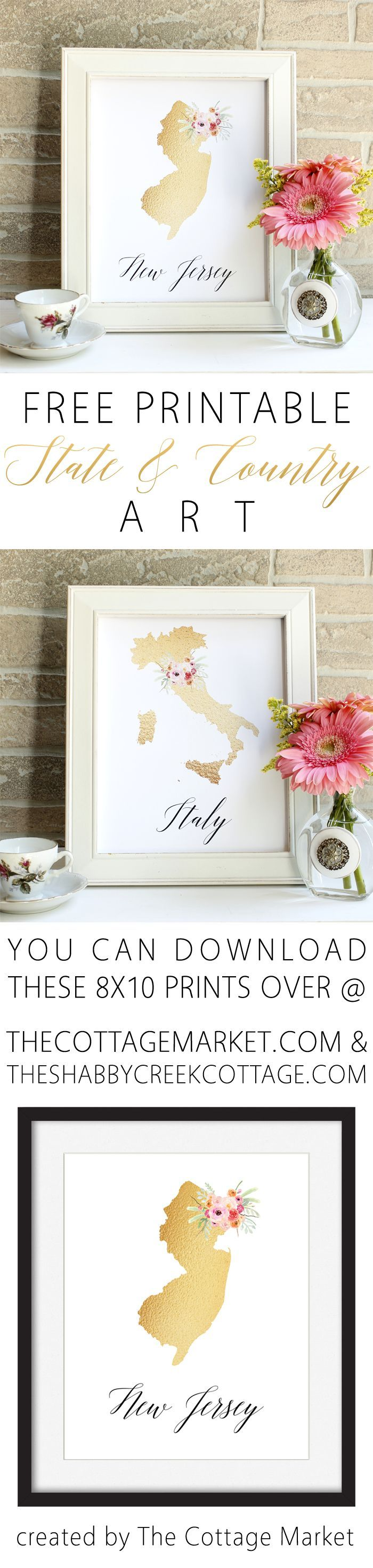 Free printable state art for most states and countries - beautiful gold foil look, and 100% free for personal use! #freeprintable #walldecor #stateart