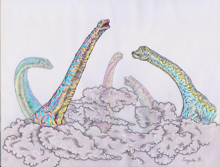 Ilustración de Romina Amanda Sigala. Altos animales prehistóricos que recogen frutos del cielo.
