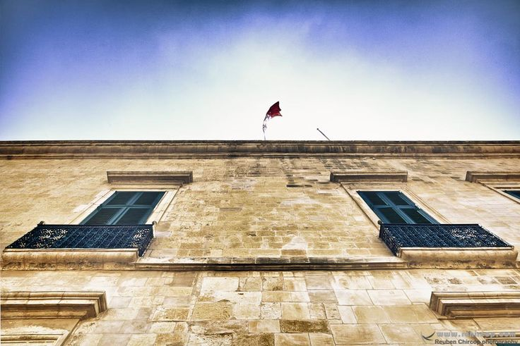 The Palace in Valletta. #Valletta #Malta #mediterranean #Knights #flag #windows #palace #culture #Knightsoftheorder #abstract #skies #sky