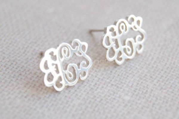 "Monogram Earrings-925 Sterling Silver monogram earrings,0.5"" monogram earring studs"