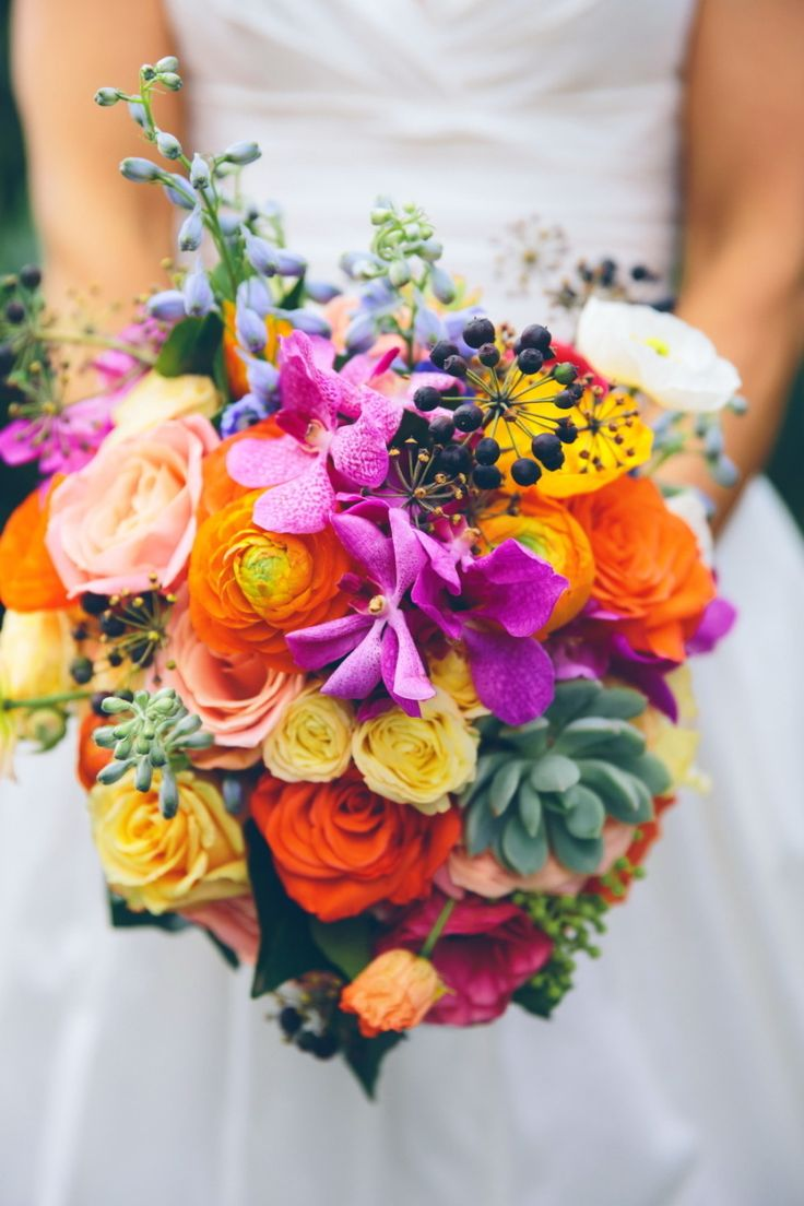 218 best multi colored wedding colors and flowers images for Bright wedding bouquet