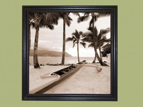 "Title: Paradise Found I ~~ Artist: Victor Giordano ~~ Subject: Outrigger canoe in the Hawaiian Islands. ~  Print Type: Lithograph ~~ Print Size: 12″ Wide x 12″ Tall  ~~  Overall Framed Art Size: 13-9/16″ Wide x 13-9/16″ Tall ~~ Frame Style: Simple Black ~~ Frame Molding Size: 3/4"" tall x 1"" wide  Our Picture Frames and Framed Art are all Hand made."