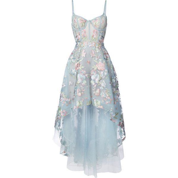Marchesa Notte floral embroidered high-low dress ($1,095) ❤ liked on Polyvore featuring dresses, gowns, blue, floral embroidered gown, blue evening dresses, blue high low dress, high low gown and skater skirt
