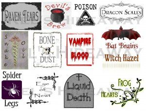witch poems for halloween | 13 HALLOWEEN Witch Theme Party POTION Labels Stickers