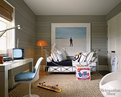 Love this for a boy's room--feels kid-appropriate but not childish. Awesome bed, love the wallpaper.: Stripes Wallpapers, Beds Rooms, Teens Rooms, Boys Bedrooms, Teens Boys, Boys Beds, Bedrooms Decor, Big Boys Rooms, Kids Rooms