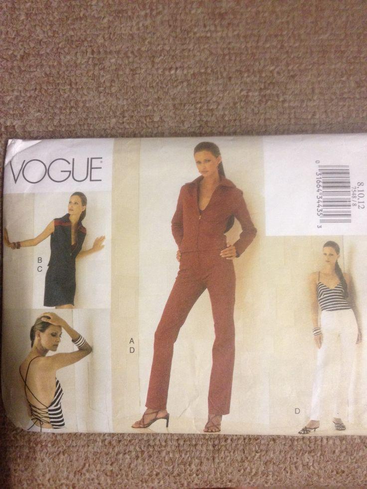 Vogue 7548, Misses jacket vest top skirt and pants, Sz 8-12 (31.5-34), 2002