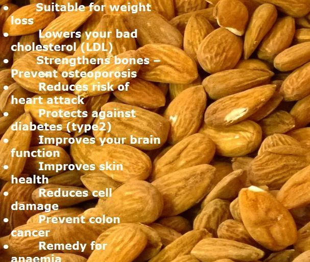 Almonds health Benefits. To see them, just visit http://healthbenefitsofnuts.com/almonds-health-benefits/