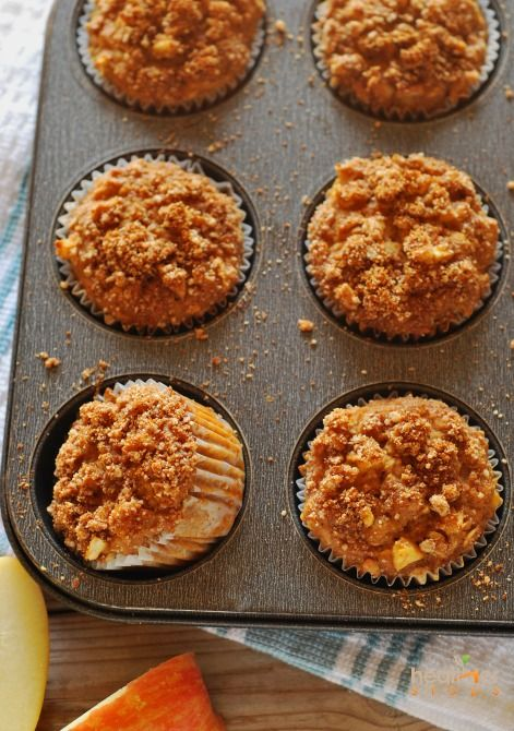 Apple Crumble Muffins, gluten-free, vegan, oil-free, sugar-free muffins deliciously moist on the inside with crisp sweet and spiced topping. Perfect breakfast that is satisfying and healthy.