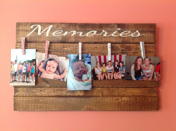Memories Wooden Sign with Clothesline Picture Hanger by PeachWoodCrafts on Etsy https://www.etsy.com/listing/194573399/memories-wooden-sign-with-clothesline