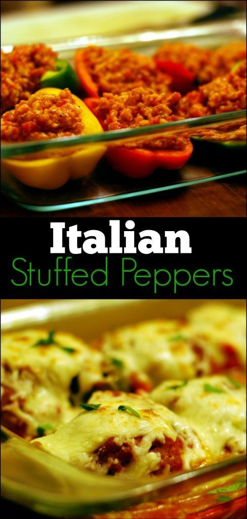 These Italian Stuffed Peppers are one of the best things I have ever eaten!  I LOVE that you don't have to precook the meat or bell peppers!