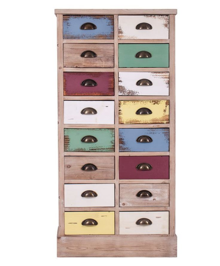 Tallboy chest of drawers 16 multicoloured drawers 123cm high solid wood in Home, Furniture & DIY, Furniture, Chests of Drawers | eBay