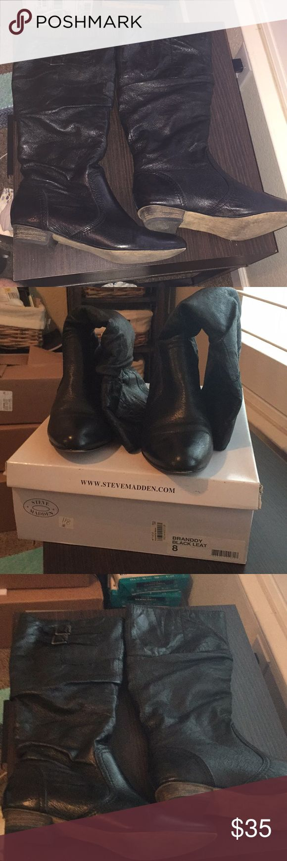 Steve Madden Branddy Boots Steve Madden Branddy with leather upper fabric lining. Size 8M. Black with two buckles on the top outside of the boo (see last picture) Steve Madden Shoes Combat & Moto Boots