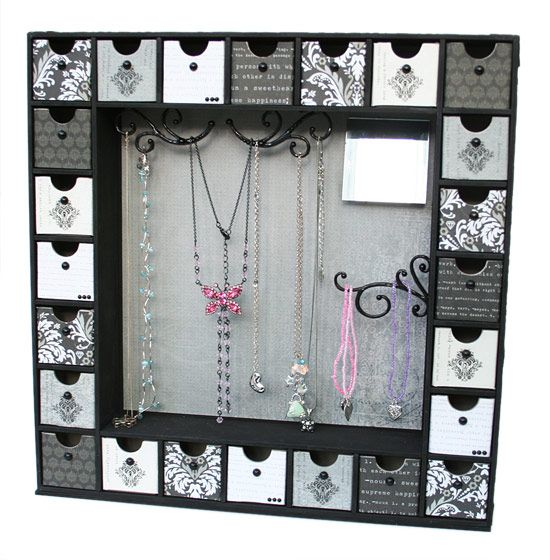 Black and White Kaisercraft Jewelry holder using Advent Calendar- A beautiful Project