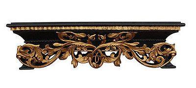 Olde World Style Leaf Design Bed Crown, Gold on Black Finish