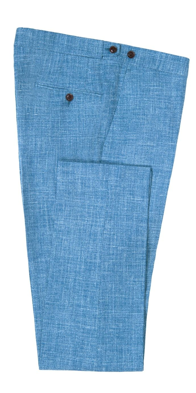 Pure Wool Dress Pants by Tiglio Luxe French Blue Flat Front