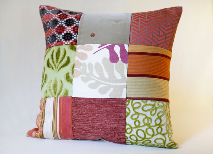 Handmade Pillow 	Size: 20 x 20 inch 	Up-cycled Fabric  Each piece has been thoughtfully designed and locally produced, by hand, primarily from resources diverted from the waste stream.   We hope you will LOVE your new accessories as much as we loved creating them for you!