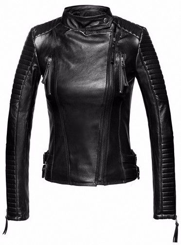 Genuine Leather Biker Jacket in Black