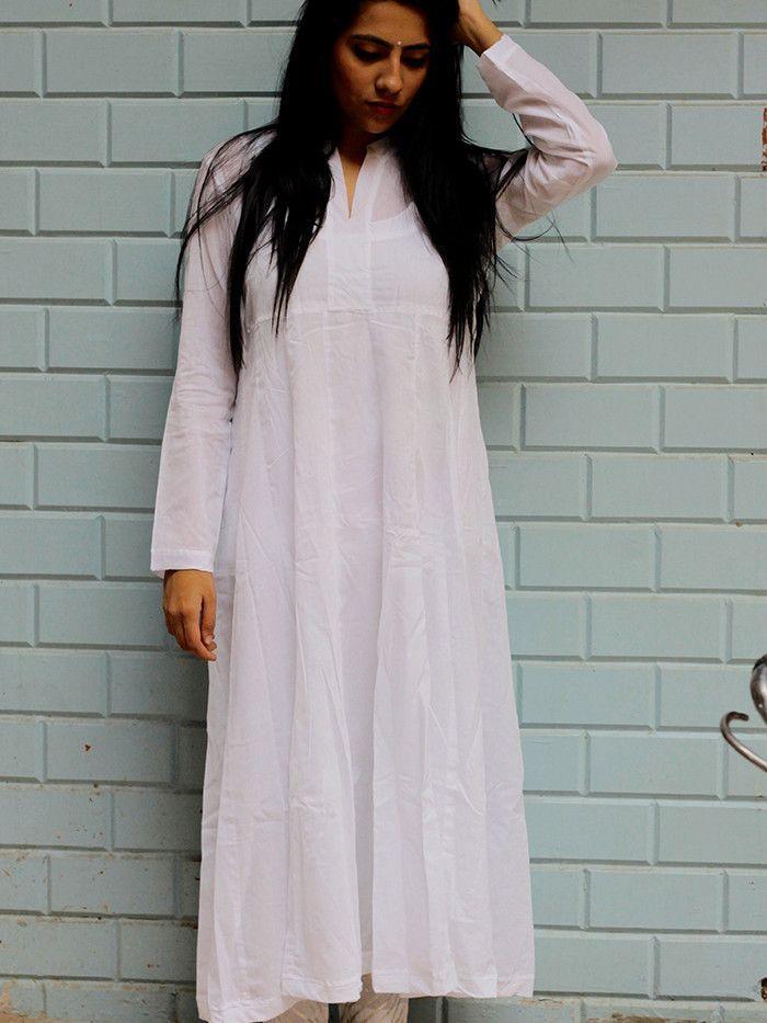 Description: White Cotton Mul Kurta Size Chart - These are garment measurements. XS - Chest: 39'', Shoulder: 14'', Armhole: 17'', Length: 49'', Sleeve Length: