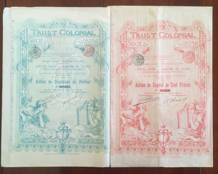 Online veilinghuis Catawiki: België - Trust Colonial Kavel van 2 effecten (Art Deco) - 1899VF  Colonial 1 X Share capital and 1 X share Dividend Bruxelles 1899.  Lot of 2 Securities.  Design door Jean Malraux 26 X 35 Cm.  See pictures from stocks delivered.  Judge for yourself on the basis of the images.