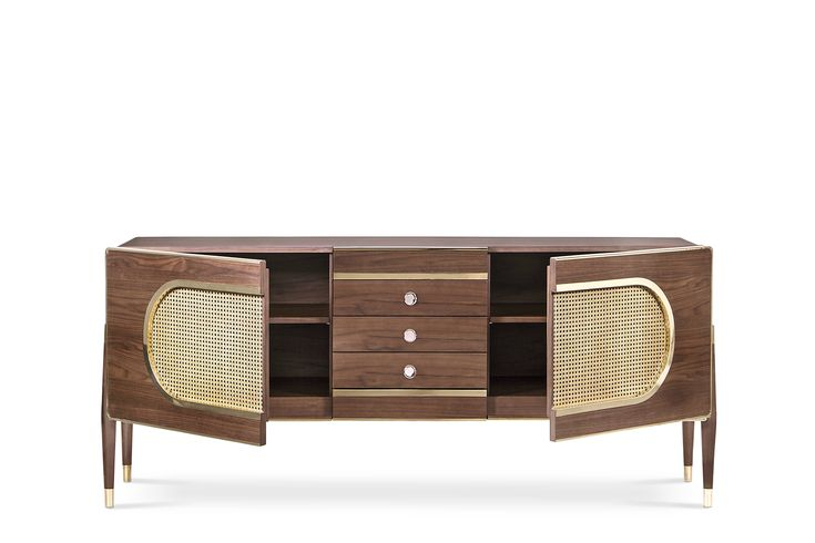 Dandy is a sleek and stylish sideboard. Since its very versatile, it can be used as a drinks cabinet and located both on a living room or dressing room. Its body is entirely made of solid walnut wood and it ressembles a kitsch radio, because of its shape and the use of grill cloth on the doors. It is accented by a brass trim on the body edges and supported by tapered legs with brass ferrules. The best from scandinavian design roots.essentialhome.eu