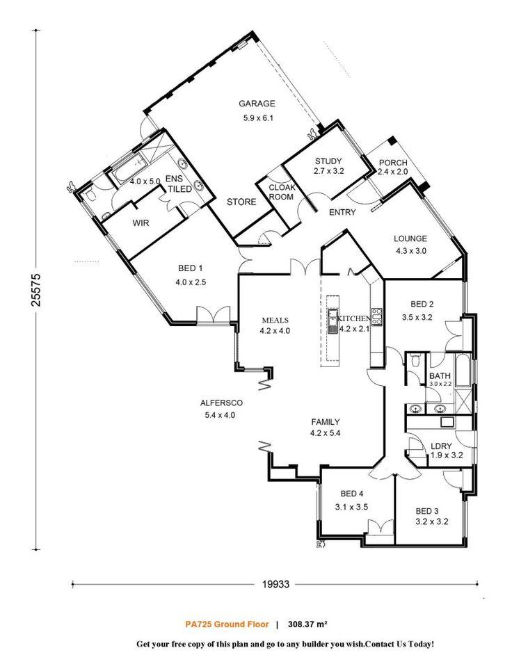 158 best floor plans images on pinterest house floor plans House Extension Plans Perth modern bathroom single storey 4 bed 2 bath house plans house house extension plans perth