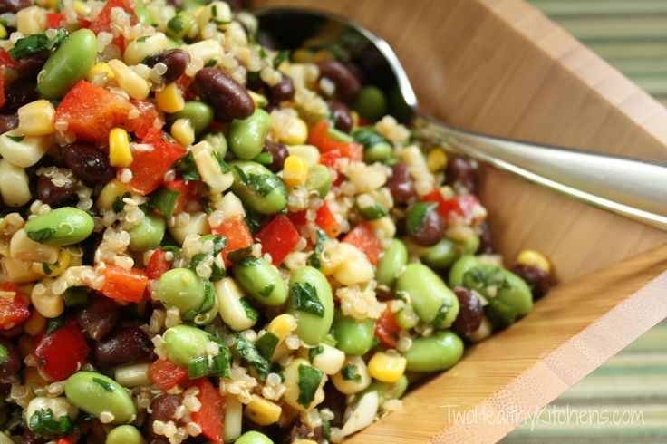 Corn, Edamame and Quinoa Salad with Lemon-Dijon Vinaigrette from Two Healthy Kitchens - This unique salad doubles as a salsa! Lemon-dijon soy sauce dressing, red pepper, corn, edamame, black beans, cilantro, quinoa. So delicious, so healthy! Super easy!!