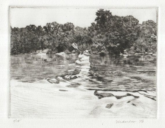 "Signed Original Drypoint Print (similar to etching): ""Serenity"" Kayak Paddler On A Lake Landscape 5x8"" 100% cotton paper by Onelio Marrero"