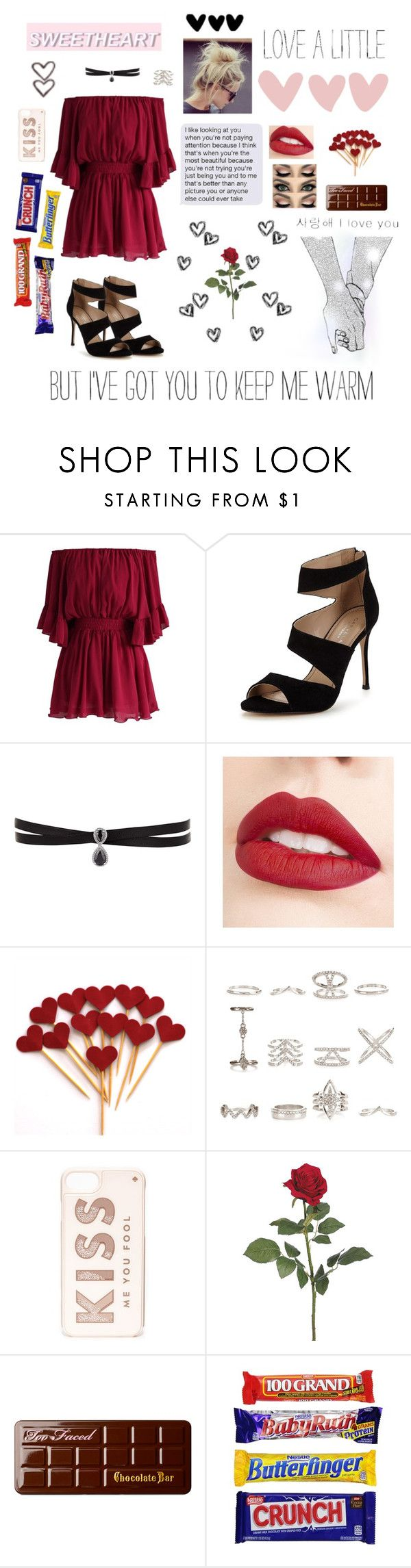 """But I've Got You to Keep Me Warm..."" by emjaymusic ❤ liked on Polyvore featuring Chicwish, Carvela, Fallon, Allura, Jouer, New Look, Kate Spade and Too Faced Cosmetics"