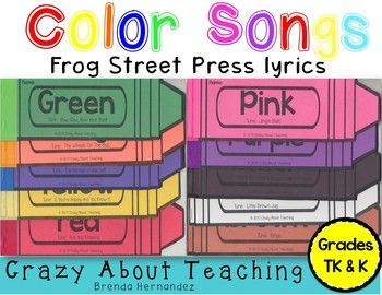 The product is in the form of a pdf zip file. These crayons, with the color song lyrics from Frog Street Press, is a great way for students to learn their colors and learn how to spell their colors. There are a total of 10 colors. There are a total of 43 pages.