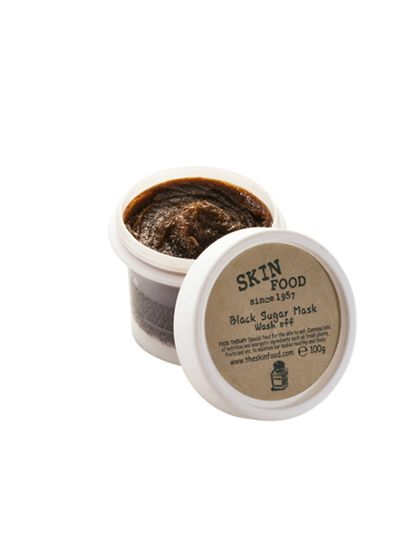 Skinfood Black Sugar Mask This isn't as hard-core as it looks: Let the dark sugar crystals melt between your wet palms, then scrub the face for smoother, brighter, softer skin.