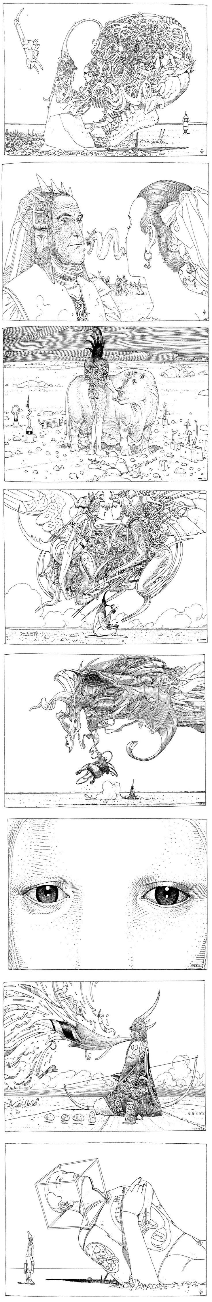 Moebius: Black & White sí tenéis un momento buscar este cómic son 100 páginas de genialidades con un mismo contexto el desierto!!