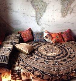 love girl light hippie room boho indie dream bed boy hippy pillows hippi etno