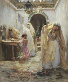 Frederick Arthur Bridgman (American, 1847-1928).  Women at the Fountain