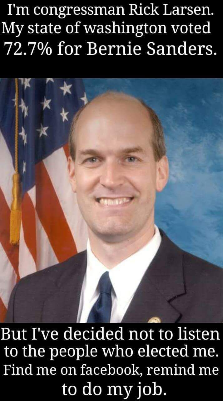 Rick Larsen has represented Washington's 2nd Congressional District since 2000, and he's proud of the work he's done on behalf of his district while working in Washington DC. His campaign websiteproudly states      Rick Larsen is a local guy who is