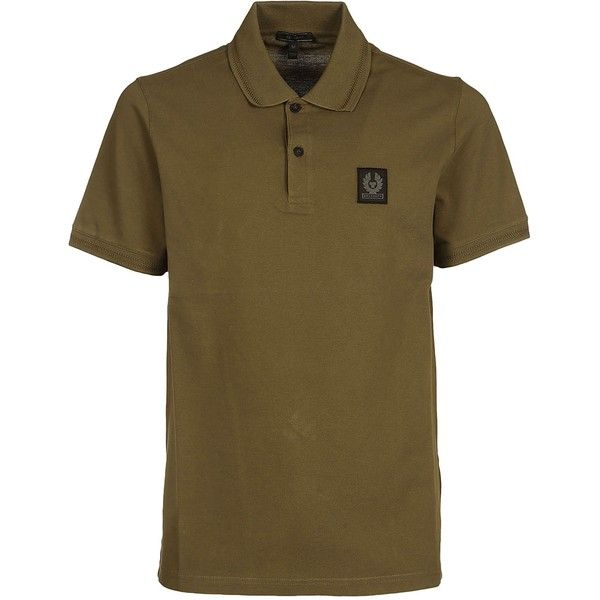 Logo Patch Polo Shirt (310 BRL) ❤ liked on Polyvore featuring men's fashion, men's clothing, men's shirts, men's polos, slate green, mens green button down shirt, mens green polo shirts, mens polo button down shirts, mens logo t shirts and mens polo shirts