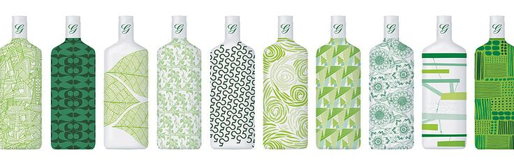 Ten Green Bottles by Studio Conran for Gordons Gin - Each bottle has been carefully curated to tell a different story, inspired by Sir Terence Conran. The designs, which are printed on 100% cotton fabric, feature the corresponding bottle numbers intricately incorporated within a unique print.