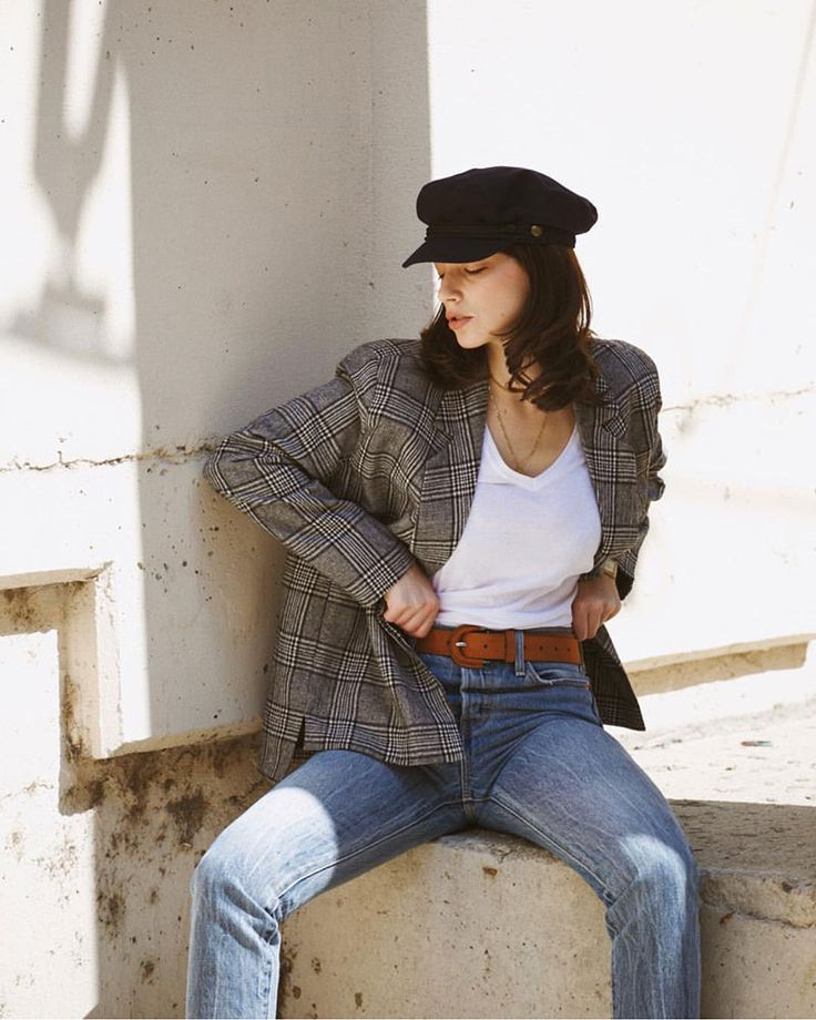 m File / Plaid Blazer + jeans