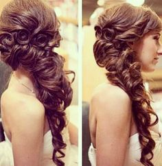 formal hairstyles half up half down to one side - Google Search