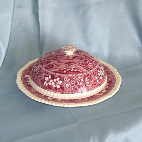Seriously gorgeous!  Copeland Spode Tower Red or Pink Covered Muffin Butter Dish Old Mark