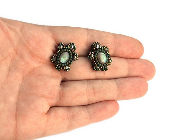 Bead embroidery stud earrings clips - elegant and shinny beadweaving eyecatching unusual hand made jewelry - Labradorite Musk Turtles