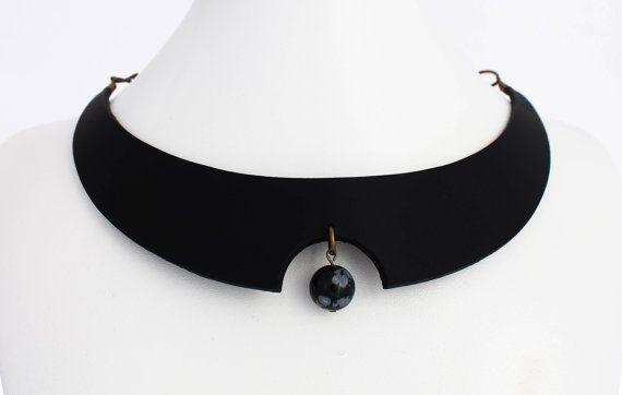 Obsidian necklace futuristic necklace urban by MartinaBradach