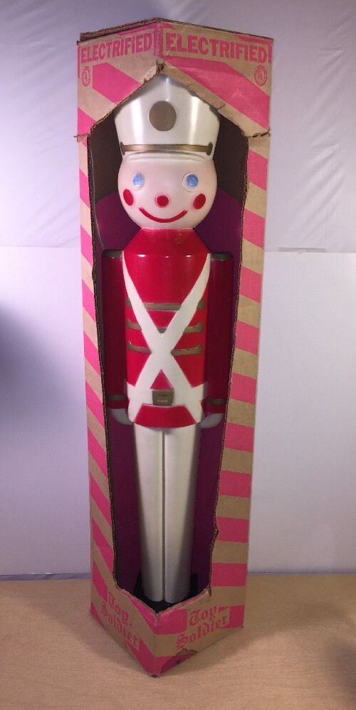 """Vintage Christmas Union 32"""" Hard Plastic Toy Soldier Lighted Yard Decoration"""