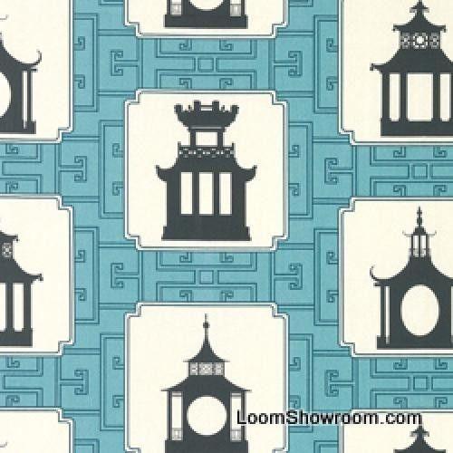 DSO141 Thomas Paul Asia Pagoda Modern Blue Heavy Cotton Fabric Japan Modern #Unbranded