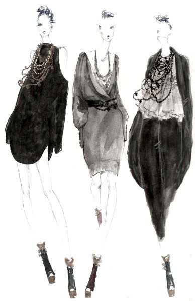 myrtle quillamor fashion & style drawings - black, grey, neutral colours - apparel & accessories #NaaiAntwerp