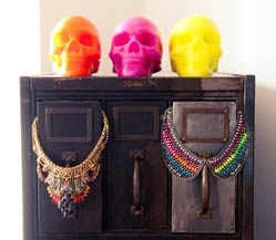 Cleo and Hixson.  http://thecoveteur.com/Jodie_Snyder#Skull Necklaces, Statement Necklaces, Moroccan Interiors, Colors, Neon, Chunky Jewelry, Skull Design, Collars Necklaces, Bibs Necklaces