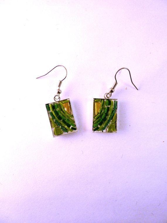 orecchini verde oro di MOSAICANDARTS su Etsy