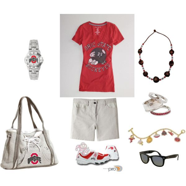 OSU Buckeye Game Day, created by lisa-ogden-williams.  Love the shoes and purse!