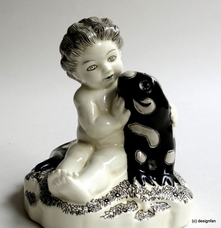 PUTTO mit SALAMANDER – A. Klieber~1912-Vereinigte Wiener und Gmundner Keramik