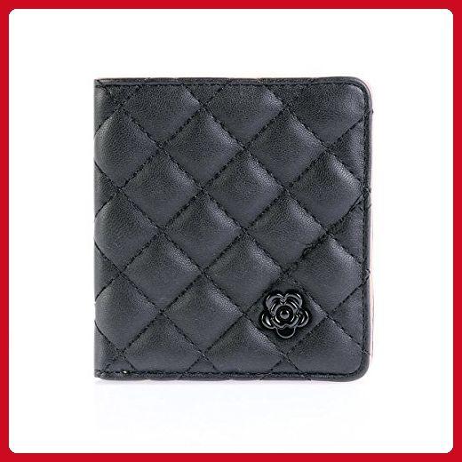 Damara Womens Quilted Lattice Camellia Square Credit Card Wallet,Black - Wallets (*Amazon Partner-Link)